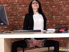 Hot secretary with a tight shaved pussy