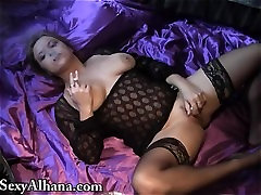 Smoking Masturbating Vibe on Satin - ALHANA WINTER - RottenStar Vintage