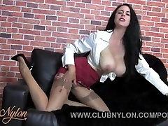 Milf with huge tits teases stockings clad feet vintage lingerie high heels