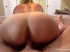 Horny blonde MILF bounces on his dick and gets her tight pussy creamed.