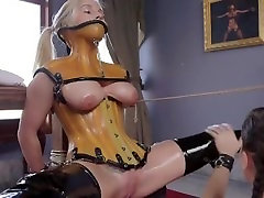 Tied up maid getting skirt bdsm licked