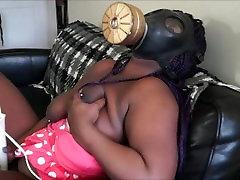sexy ebony masturbating in gasmask