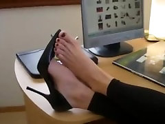 High heels and bare porn star slut at Agas office