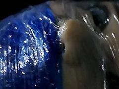 Breath Play Self-bondage in leatherBagnylonplastic wra in head