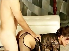 Mature Milf Roni in pantyhose lace then sucks and fucks until taking facial