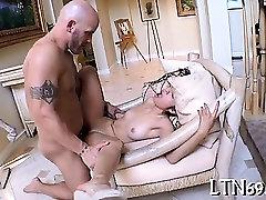 Pleasuring a unshaved slit