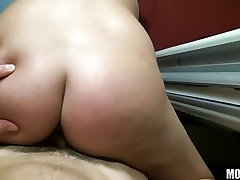 Lusty shaved Ex chubby military brat pl sits her pussy on a meaty cock and loved it