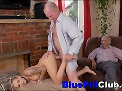 Two Very Old Men Fuck Kinky Teen With Hard Body