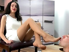 Pantyhose and barefoot feet worship Bilingual Polish and telp vintage girl
