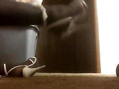 Men wearing white skirt chick blue panties dancing donk white high heels stiletto sandals walking part2
