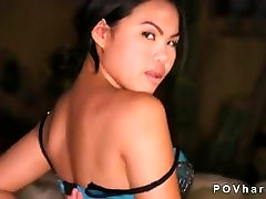 Asian babe talking and fucking in POV