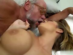 Young british brunettes wakes up her old man to have sex