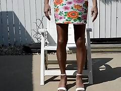 More Outdoor in Flower Dress and Pantyhose