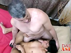 Daddy and Asian twink George have fun in the shower