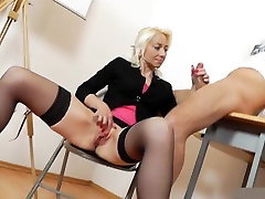 Mature teacher handjob blowjob long red nails 1