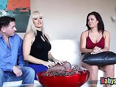 Busty best ride hot spiner rides dick and tastes hot cum in threesome