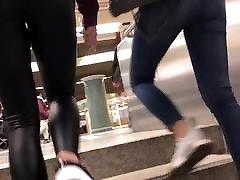 teen walking in leather leggings