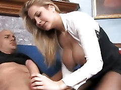 Busty Alanah spoon hard core deep throats a huge prick before getting her cunt slammed