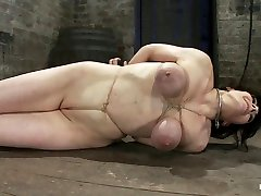 Hot Busty Lifestyle Milf Is Severely Bound With Only Baling Twinebondage Hurts, This Is Brutal. - HogTied