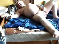 Ugly and fat Polish grandpa plays on webcam Pt.1
