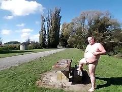 Fat man in a public place