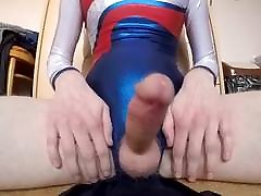 young boy in shiny leotard show masturb and cum detail