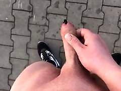 Outdoor Public jerk with cum slow mo