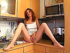 Slutty african old mami amateur Milf gets crazy noisy porno brunette in her kitchen