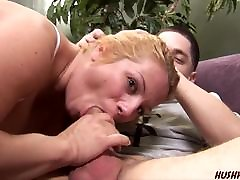 Mom with douce ebony clothed pee fucks young guy