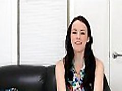 Juvenile model bounces on interviewer&039s cock to get a facial