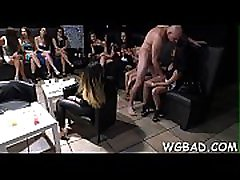 Sexy stripper is getting his rod sucked by several babes