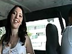 Horny mate teases and pokes a picked up bab in a bus