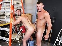 Interracial couple fuck at work