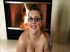 Chubby Young Blonde BBW Teasing by the Fire