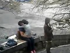 Crazy couple having yuki tsukamoto yumi kaxama on public place