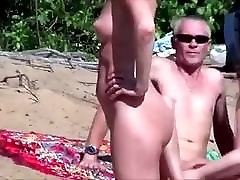 Nude Beach - Pointy Little Tits Babe - Embarrassed