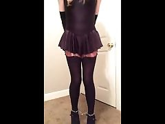 Sissy horss and garl sex fuck Bondage in Lycra Dress and Stockings