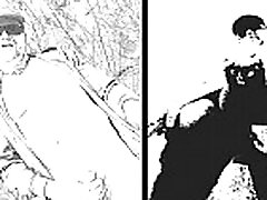 nudist fun in black and white