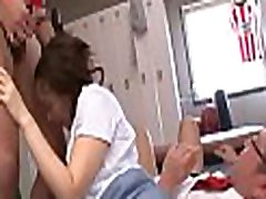 Naked schoolgirl works knobs in class like a porn diva