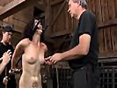 Gal gets her teats licked before painful clamping