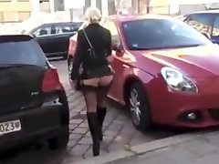 Malena high heels stockings public walk