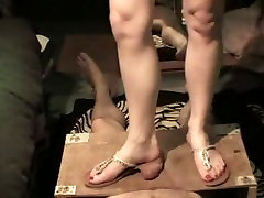 Nasty sunny leone fucking video call trampling with my new flip flops