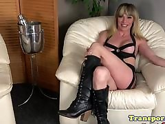 Blonde transbabe jerking and showing ass