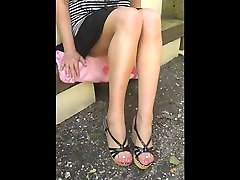 feet fetish natural pantyhose rose nails 03