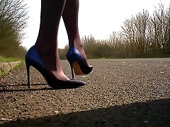 walking in blue black ombre shoes.