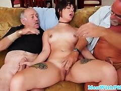 Teen beauty trio with pervert oldguys
