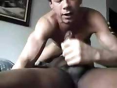 White guy sucks black cock and swallows