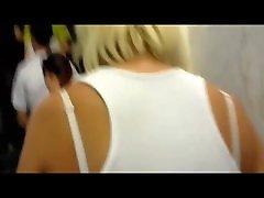 Lifted Upskirt Blonde on Escalator White Tight Thong