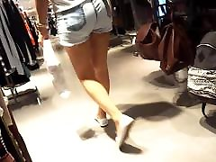 girls sexy asses cheeks in short shorts
