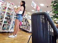 Candid voyeur thick pale booty shorts latina